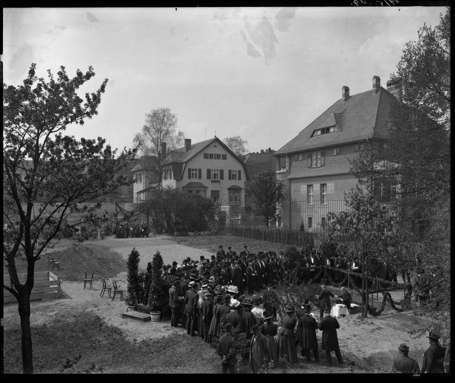 Grundsteinlegung der Synagoge, 1909. Foto: Ratsarchiv